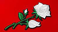 Аппликация (термо) больш.  розы  3 бутон. белые 16,5х7,7 см