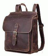 Рюкзак-ранец ретро стиль кожанный мужской TIDING BAG t1129  Коричневый