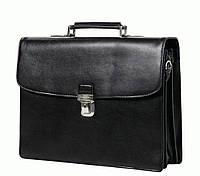 Мужской вместительный кожаный портфель, черный Katana k63043-1
