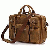 Кожаная мужская сумка-портфель коричневая,   S.J.D. 7028B