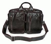 Кожаная мужская сумка-портфель коричневая, S.J.D. 7014Q-2