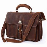 Кожаная мужская сумка-портфель коричневая,S.J.D. 7164R