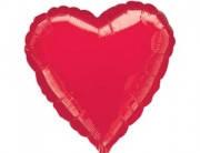 Воздушный шарик  из фольги разные виды сердце, красный