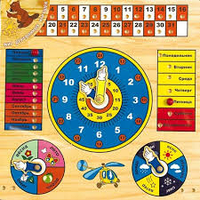 Деревянный вкладыш Часы-календарь