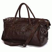 Добротная мужская  кожаная сумка из первоклассной кожи, коричневая 7079Q
