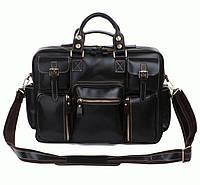 Черная мужская кожаная  сумка для командировок, 7028A