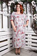 Летнее платье батал Рябина светло-серый 60-66