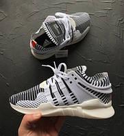 Кроссовки мужские Adidas EQT support adv primeknit zebra featured 15155 черно-белые