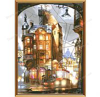 """Набор для вышивания крестом на белой канве """"Ночной город"""""""