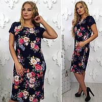 Женское классическое летнее платье. Размер: 52,54,56,58, фото 1
