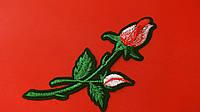 Аппликация (термо) ср. розы 2 бутона  красн./розов. 13х5 см