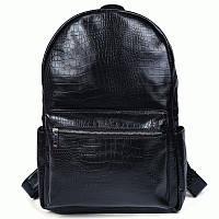 Современный и стильный кожаный рюкзак, t3123  Черный