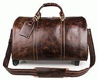 Большая мужская кожаная сумка, для командировок, коричневая. 7077LQ