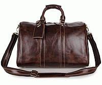 Кожаная коричневая сумка мужская для ручной клади, 7077C