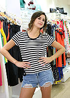 Брендовая женская футболка полосатая Италия
