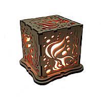 """Соляной светильник """"рыба куб деревянный"""""""