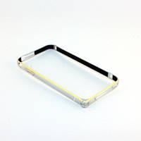 Бампер для iPhone 4/4S, ультратонкий на защелке, алюминиевый, Fashion case, серебристый с золотистым /чехол/кейс/case/защита /айфон