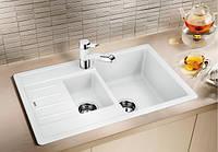 Гранитная двойная кухонная мойка Blanco Legra 6S Compact белый