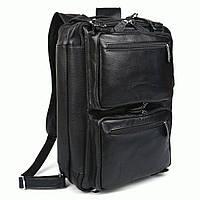 Сумка рюкзак мужская кожаная трансформер TIDING BAG t3013  Черный
