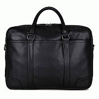 Кожаная мужская сумка-портфель черная,   S.J.D. 7348A