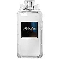 Чехол-накладка для iPhone 4/4S, силиконовый, Miss Dior, флакон, прозрачный /case/кейс /айфон