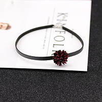 Чокер кожаный с бордовым цветком, фото 1