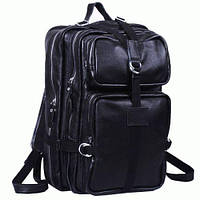 Мужская черная кожаная сумка трансформер рюкзак,  t3034