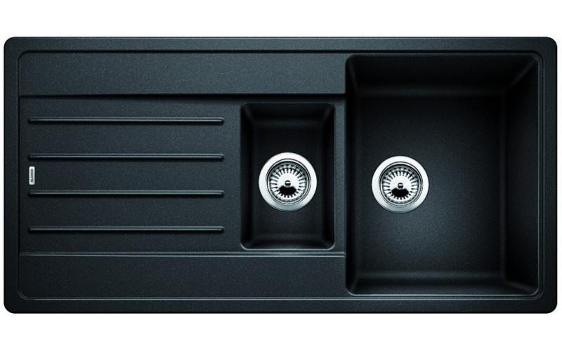 Гранитная двойная кухонная мойка Blanco Legra 6S антрацит