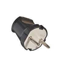 23-03-006. Вилка электрическая без заземления 10А, черная, (P1601-001)