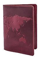 """Обложка для паспорта VIP (хамелеон красный) тиснение """"WORLD MAP"""""""