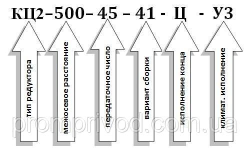 Условное обозначение  редуктора типа КЦ2-500: