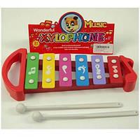 Ксилофон 32168-3 (96шт) 25-11-2,5см, палочка 2шт, 6 тонов, 2цвета, в кульке, 17-35-2,5см