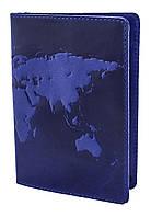 """Обложка для паспорта VIP (хамелеон синий) тиснение """"World Map"""""""