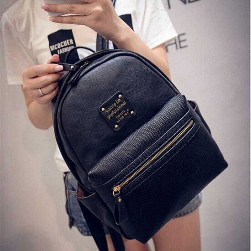 Рюкзак женский фактурная кожа (черный)