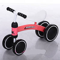 Детский беговел (велобег) колеса EVA+кожаное сиденье Baby-Bike 859-3 коралл