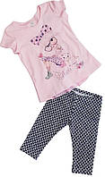 Летний костюм на девочку  туника+лосины ТМ Фламинго размеры 98 110 116 122
