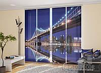 """Японские фотошторы """"Мост в ночном городе"""" 2,40*1,80 (3 панели по 60см)"""