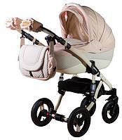 Детская универсальная коляска 2 в 1 ADAMEX Erika кожа 50% (Бежевый-бежевая кожа(выдавленные точки) 741S)