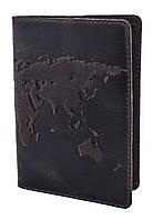 """Обложка для паспорта VIP (антик темный шоколад) тиснение """"WORLD MAP"""", фото 1"""