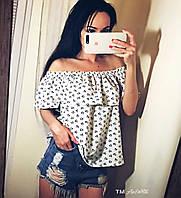 Женская летняя блуза с воланами