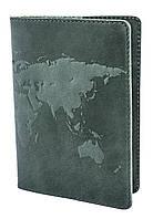 "Обложка для паспорта VIP (хамелеон зеленый) тиснение ""WORLD MAP"""