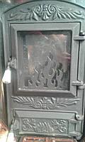 """Печные Дверцы(дверки) Чугунные со Стеклом """"Пламя Арочные"""".В Наличии"""