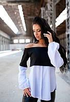Женская черная легкая блузка с открытой спиной