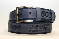 Джинсовый ремень 45 мм голубой пряжка матовая полоса с логотипом Levis 501 края голубые
