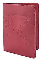 """Обложка для паспорта  STANDART ( красный) тиснение  """"WORLD MAP"""", фото 1"""