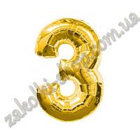 """Фольгированные воздушные шары, цифра """"3"""", размер 32 дюйма/74 см, цвет: золото, 1 штука"""