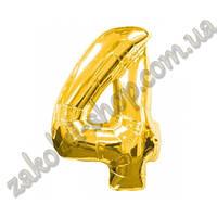 """Фольгированные воздушные шары, цифра """"4"""", размер 32 дюйма/74 см, цвет: золото, 1 штука"""