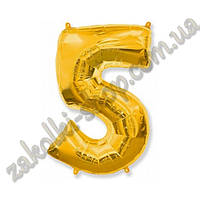 """Фольгированные воздушные шары, цифра """"5"""", размер 32 дюйма/74 см, цвет: золото, 1 штука"""