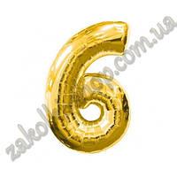 """Фольгированные воздушные шары, цифра """"6"""", размер 32 дюйма/74 см, цвет: золото, 1 штука"""