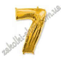 """Фольгированные воздушные шары, цифра """"7"""", размер 32 дюйма/74 см, цвет: золото, 1 штука"""